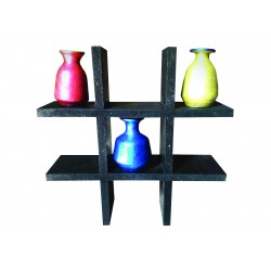 Three designer pots with stand handmade decorative item